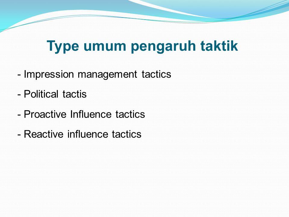 Type umum pengaruh taktik