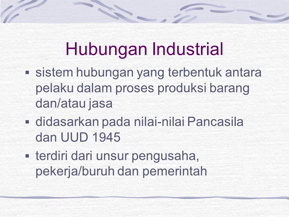 Hubungan Industrial sistem hubungan yang terbentuk antara pelaku dalam proses produksi barang dan/atau jasa.