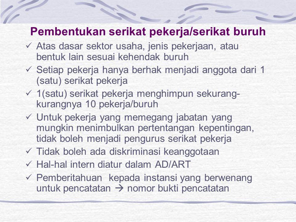Pembentukan serikat pekerja/serikat buruh