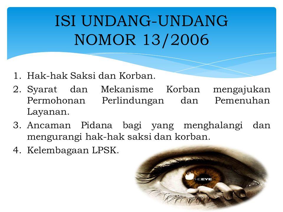 ISI UNDANG-UNDANG NOMOR 13/2006