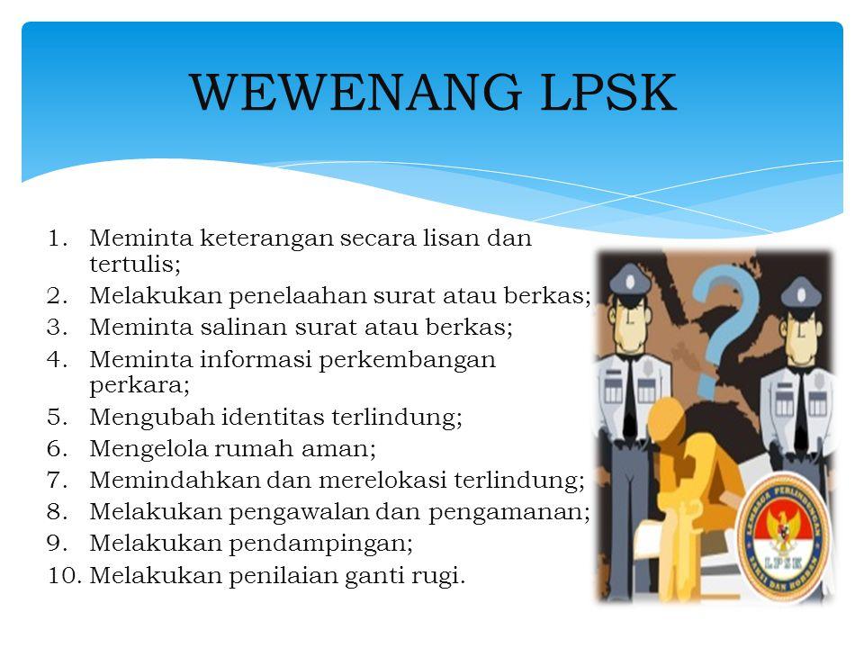 WEWENANG LPSK Meminta keterangan secara lisan dan tertulis;