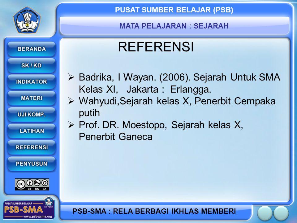 REFERENSI Badrika, I Wayan. (2006). Sejarah Untuk SMA Kelas XI, Jakarta : Erlangga. Wahyudi,Sejarah kelas X, Penerbit Cempaka putih.