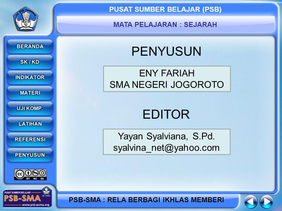 PENYUSUN EDITOR ENY FARIAH SMA NEGERI JOGOROTO Yayan Syalviana, S.Pd.