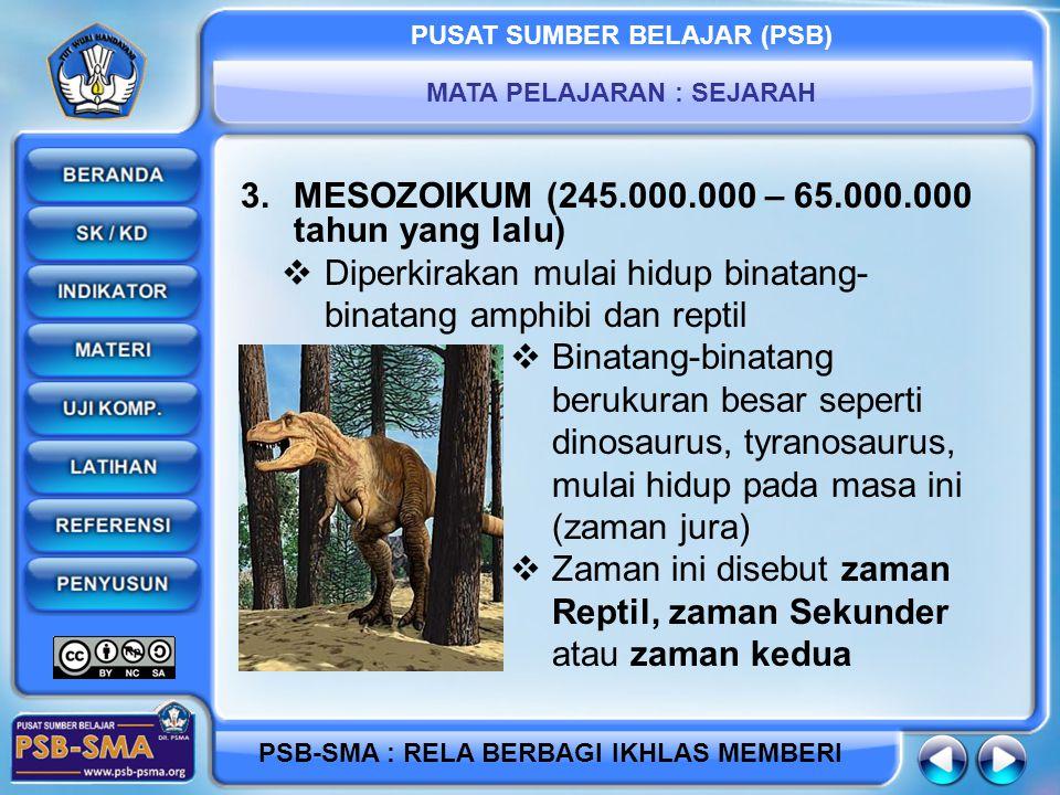 MESOZOIKUM (245.000.000 – 65.000.000 tahun yang lalu)