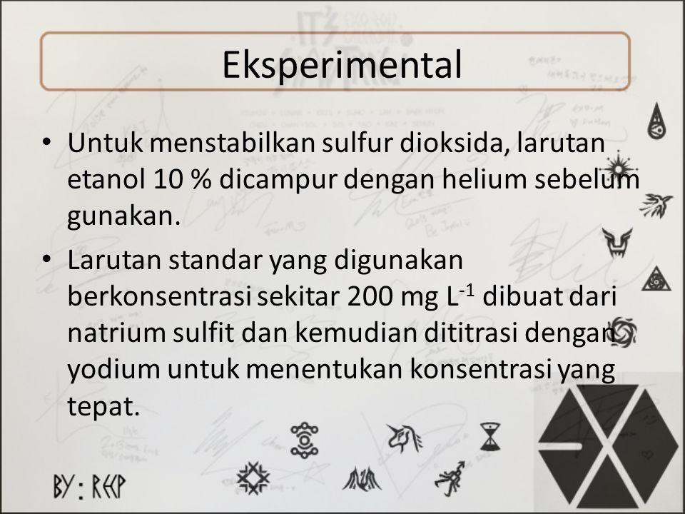 Eksperimental Untuk menstabilkan sulfur dioksida, larutan etanol 10 % dicampur dengan helium sebelum gunakan.
