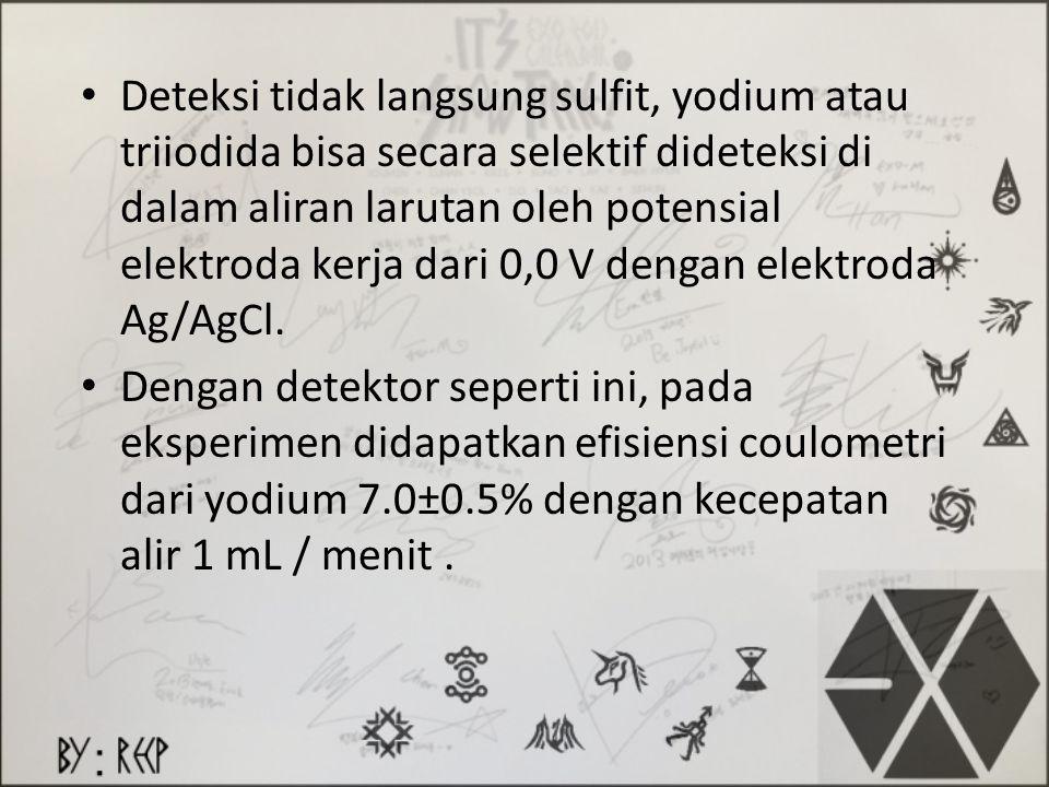 Deteksi tidak langsung sulfit, yodium atau triiodida bisa secara selektif dideteksi di dalam aliran larutan oleh potensial elektroda kerja dari 0,0 V dengan elektroda Ag/AgCl.