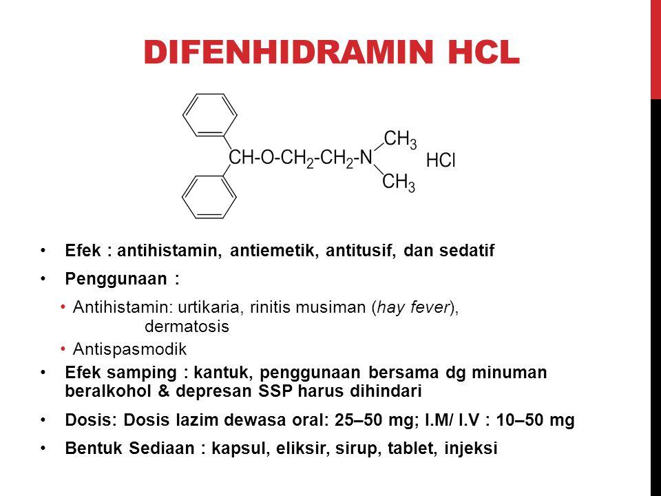 Difenhidramin HCl Efek : antihistamin, antiemetik, antitusif, dan sedatif. Penggunaan :