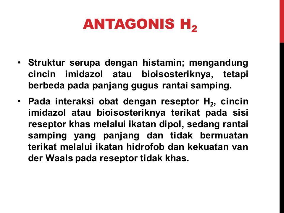 ANTAGONIS H2 Struktur serupa dengan histamin; mengandung cincin imidazol atau bioisosteriknya, tetapi berbeda pada panjang gugus rantai samping.