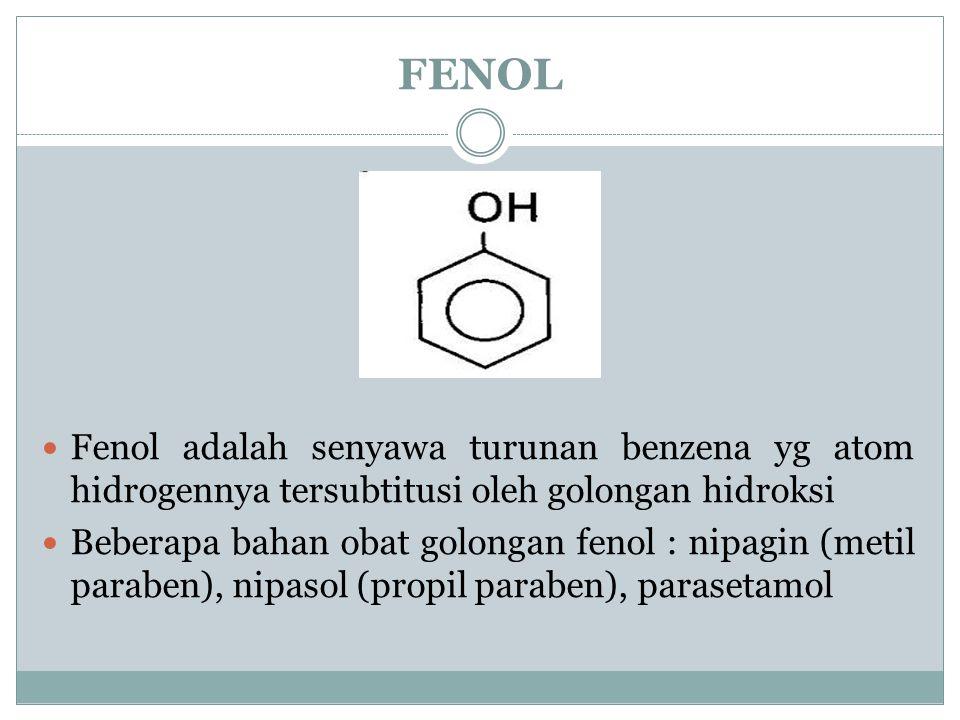 FENOL Fenol adalah senyawa turunan benzena yg atom hidrogennya tersubtitusi oleh golongan hidroksi.