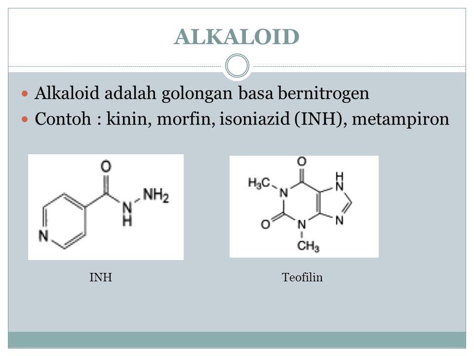 ALKALOID Alkaloid adalah golongan basa bernitrogen