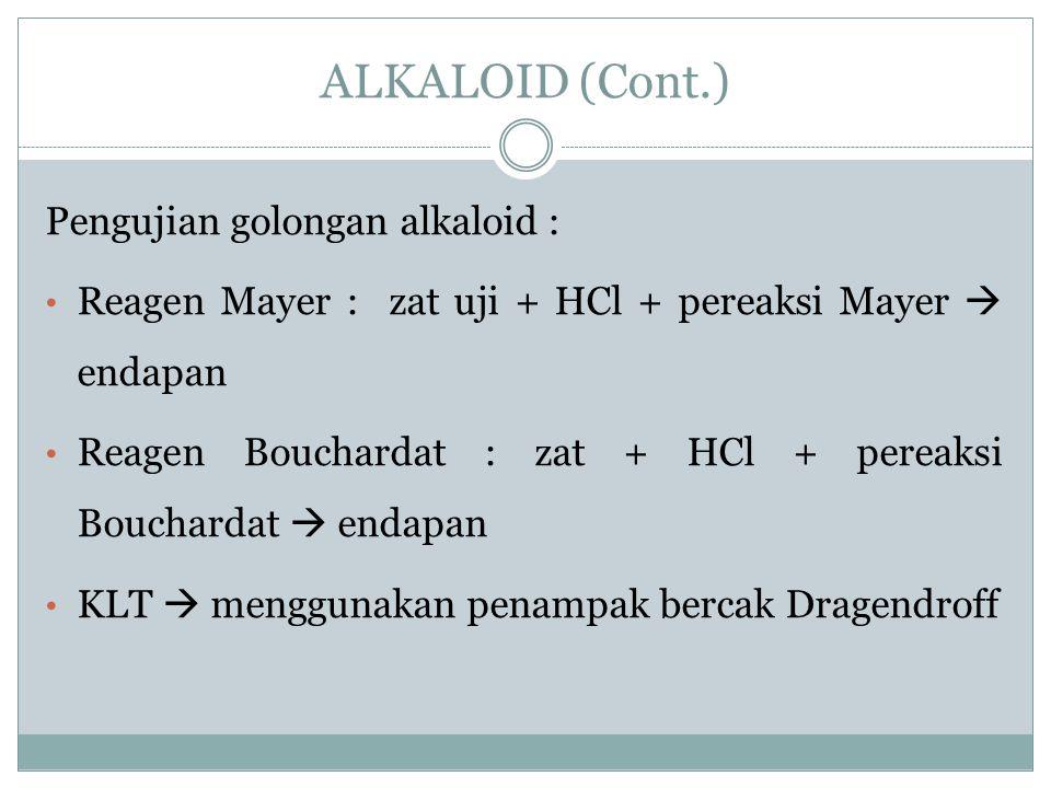ALKALOID (Cont.) Pengujian golongan alkaloid :