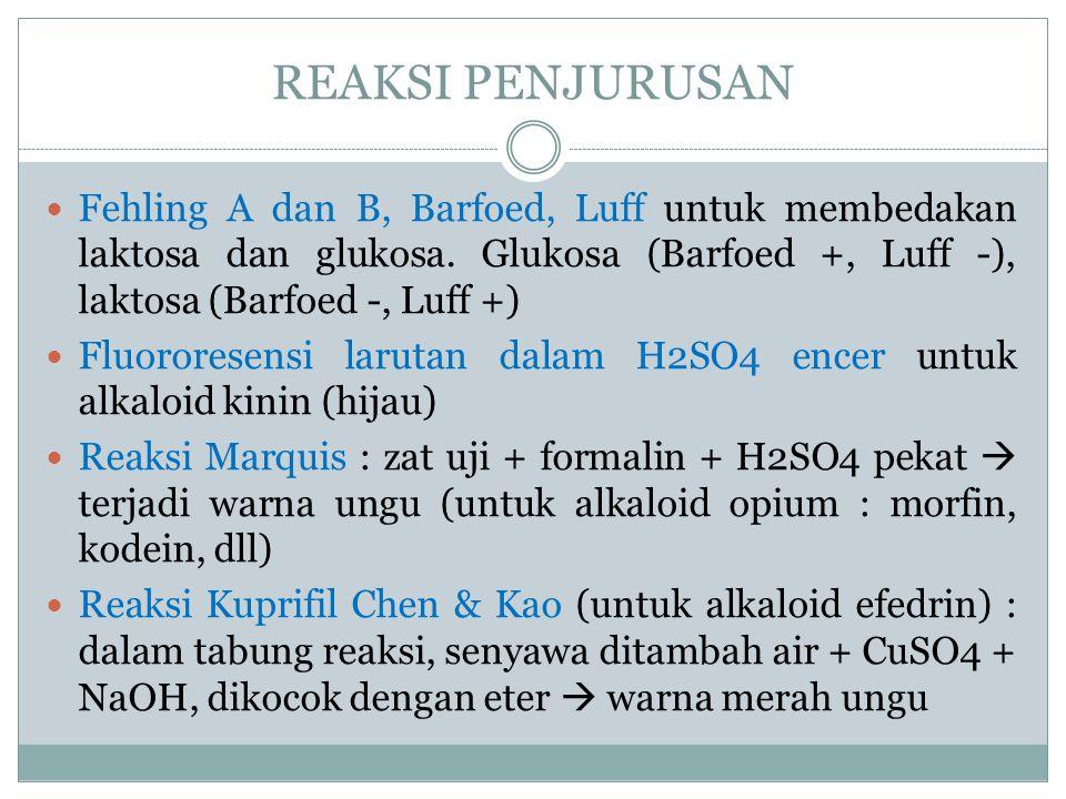 REAKSI PENJURUSAN Fehling A dan B, Barfoed, Luff untuk membedakan laktosa dan glukosa. Glukosa (Barfoed +, Luff -), laktosa (Barfoed -, Luff +)