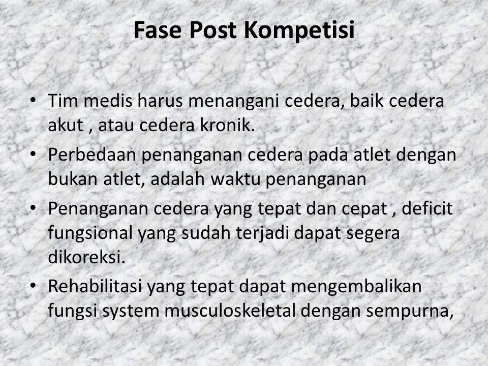 Fase Post Kompetisi Tim medis harus menangani cedera, baik cedera akut , atau cedera kronik.