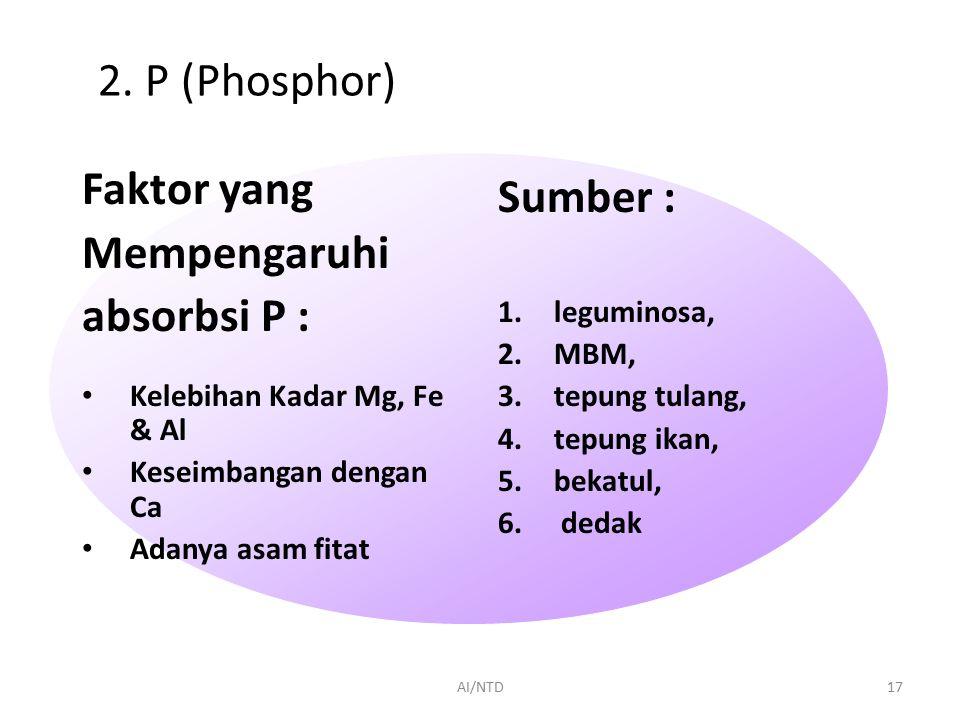 2. P (Phosphor) Faktor yang Sumber : Mempengaruhi absorbsi P :