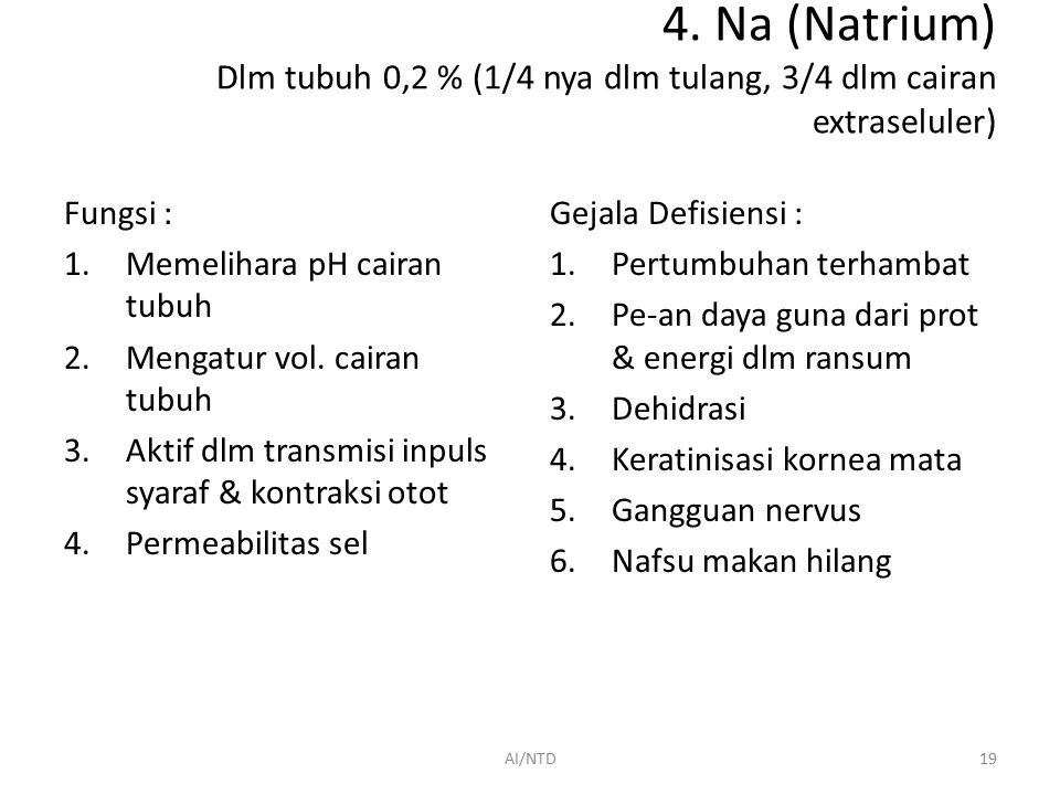 4. Na (Natrium) Dlm tubuh 0,2 % (1/4 nya dlm tulang, 3/4 dlm cairan extraseluler)