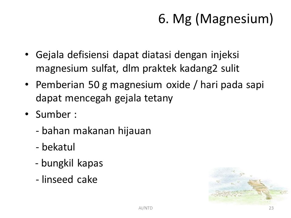 6. Mg (Magnesium) Gejala defisiensi dapat diatasi dengan injeksi magnesium sulfat, dlm praktek kadang2 sulit.