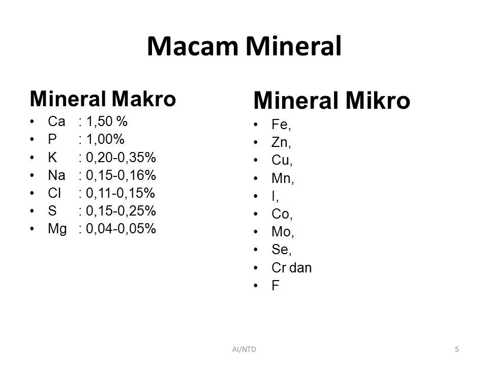 Macam Mineral Mineral Mikro Mineral Makro Ca : 1,50 % Fe, P : 1,00%