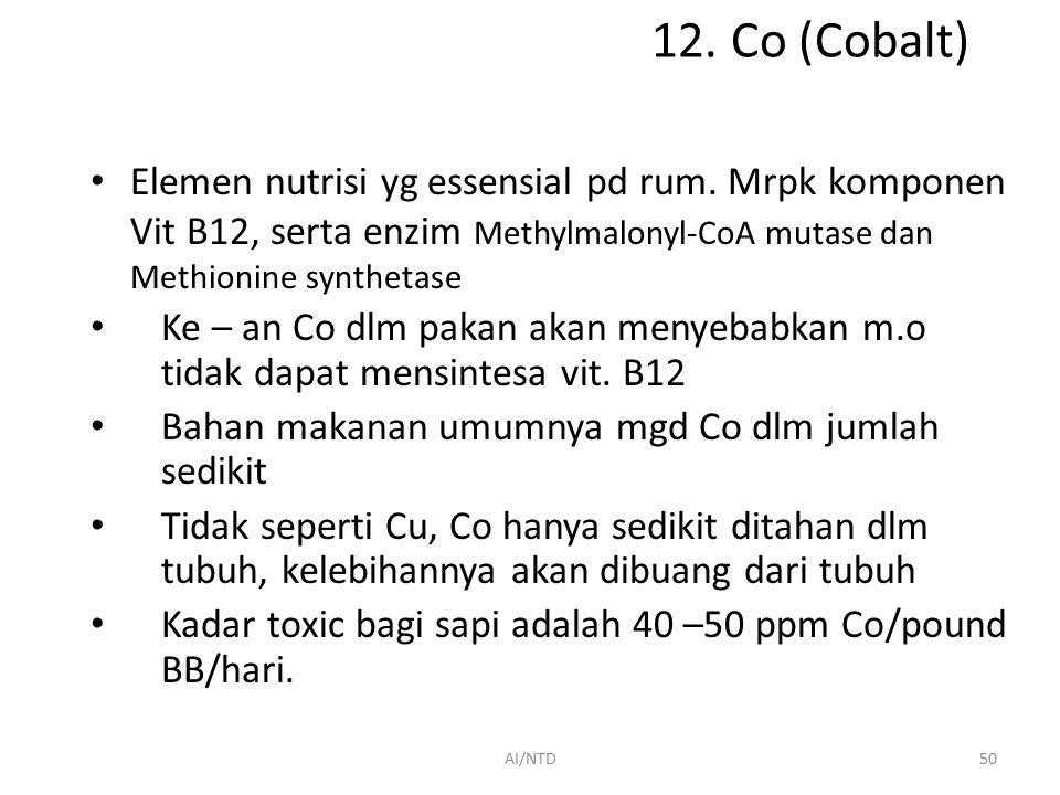 12. Co (Cobalt) Elemen nutrisi yg essensial pd rum. Mrpk komponen Vit B12, serta enzim Methylmalonyl-CoA mutase dan Methionine synthetase.