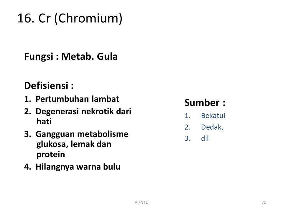 16. Cr (Chromium) Fungsi : Metab. Gula Defisiensi : Sumber :