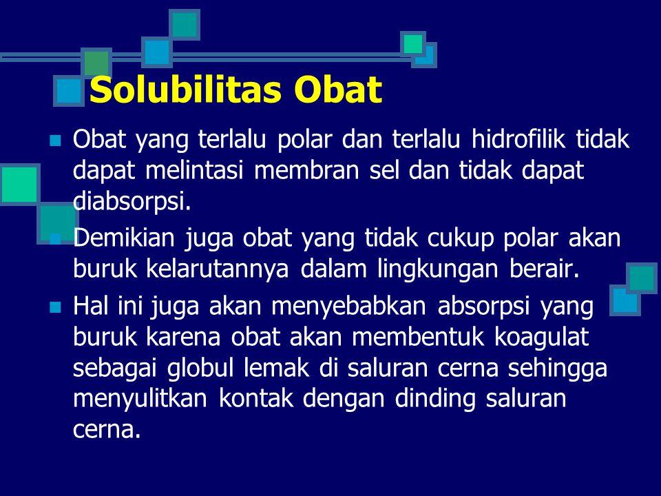 Solubilitas Obat Obat yang terlalu polar dan terlalu hidrofilik tidak dapat melintasi membran sel dan tidak dapat diabsorpsi.