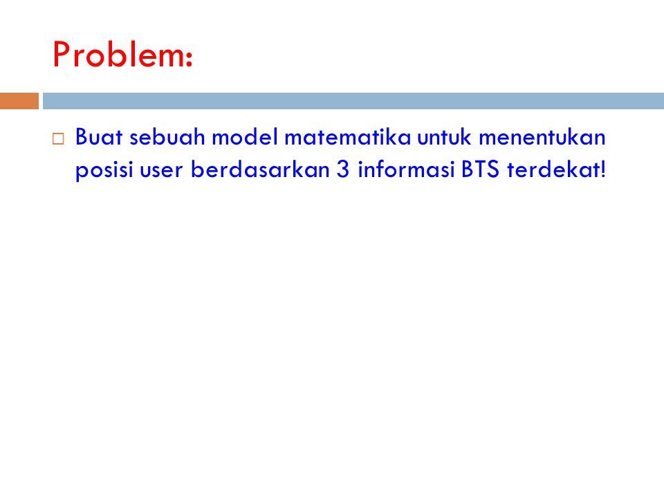 Problem: Buat sebuah model matematika untuk menentukan posisi user berdasarkan 3 informasi BTS terdekat!