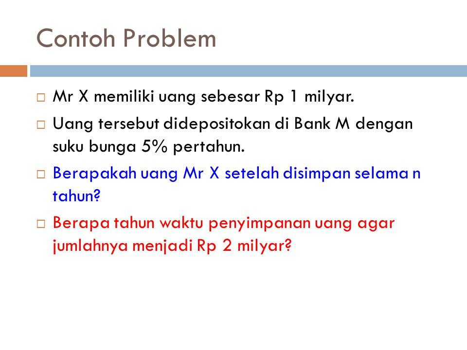 Contoh Problem Mr X memiliki uang sebesar Rp 1 milyar.