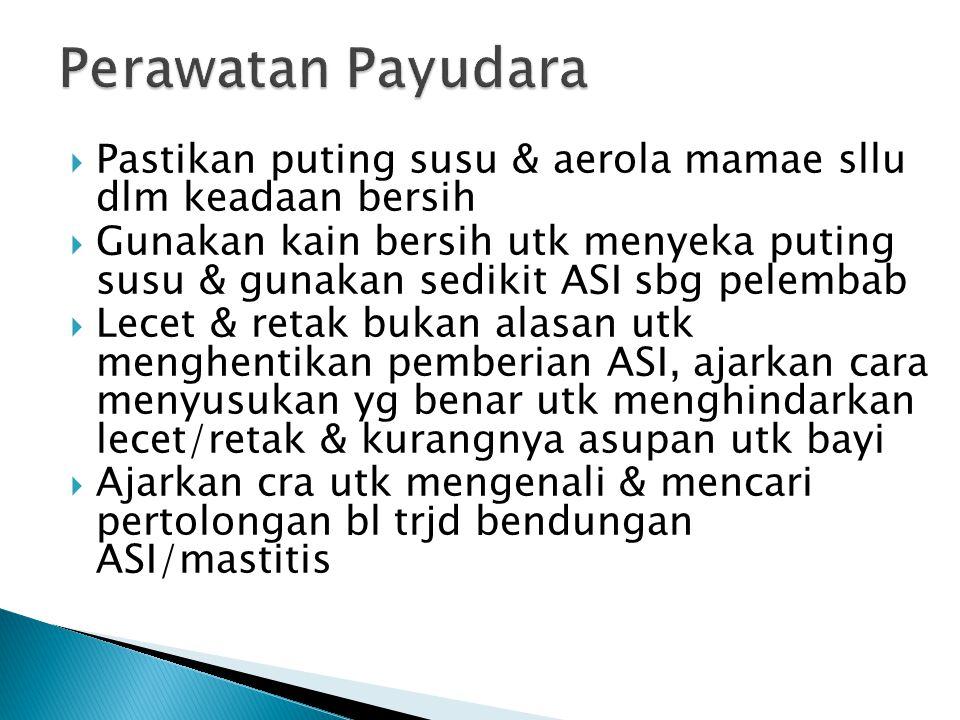 Perawatan Payudara Pastikan puting susu & aerola mamae sllu dlm keadaan bersih.