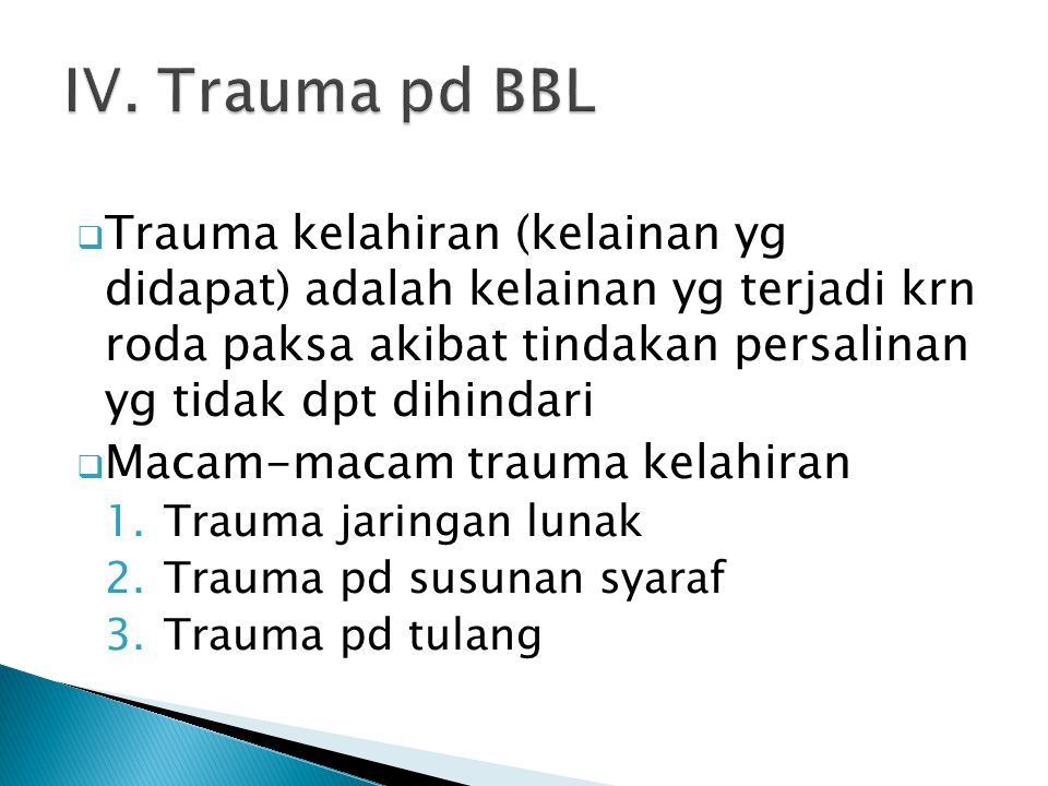IV. Trauma pd BBL