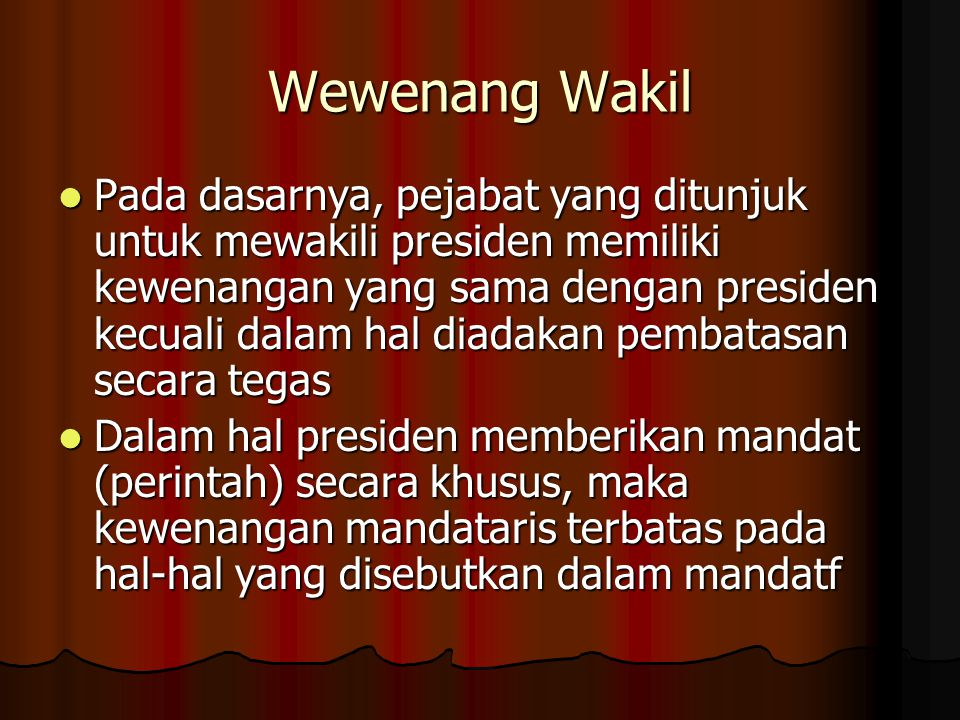 Wewenang Wakil