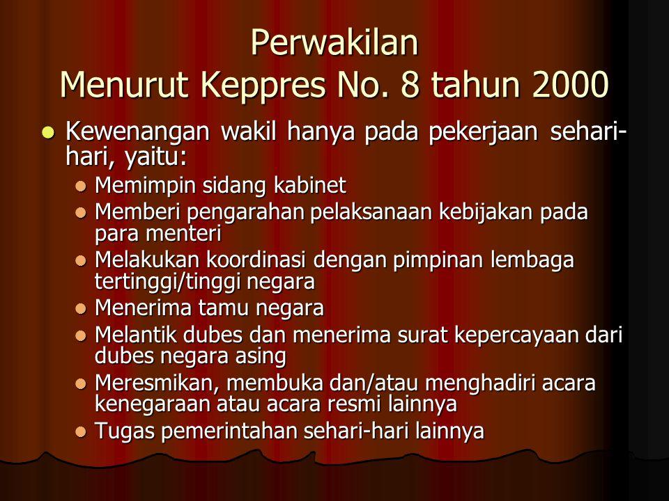 Perwakilan Menurut Keppres No. 8 tahun 2000