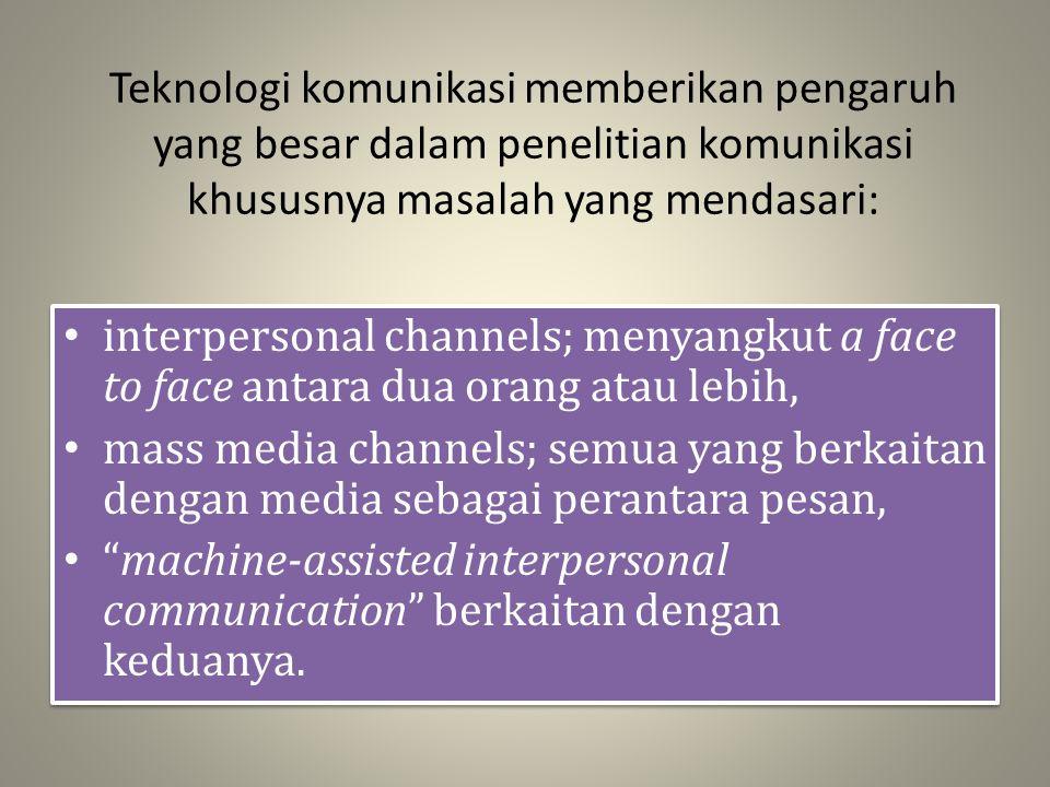 Teknologi komunikasi memberikan pengaruh yang besar dalam penelitian komunikasi khususnya masalah yang mendasari:
