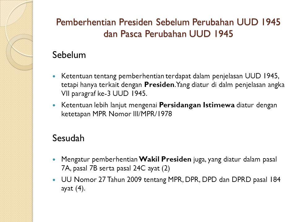 Pemberhentian Presiden Sebelum Perubahan UUD 1945 dan Pasca Perubahan UUD 1945