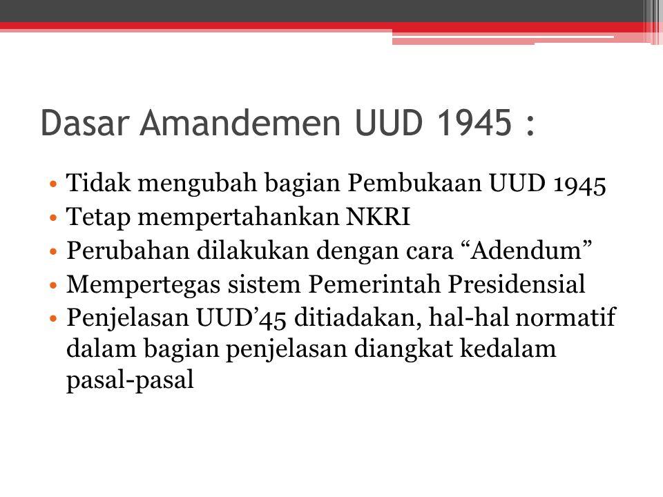 Dasar Amandemen UUD 1945 : Tidak mengubah bagian Pembukaan UUD 1945