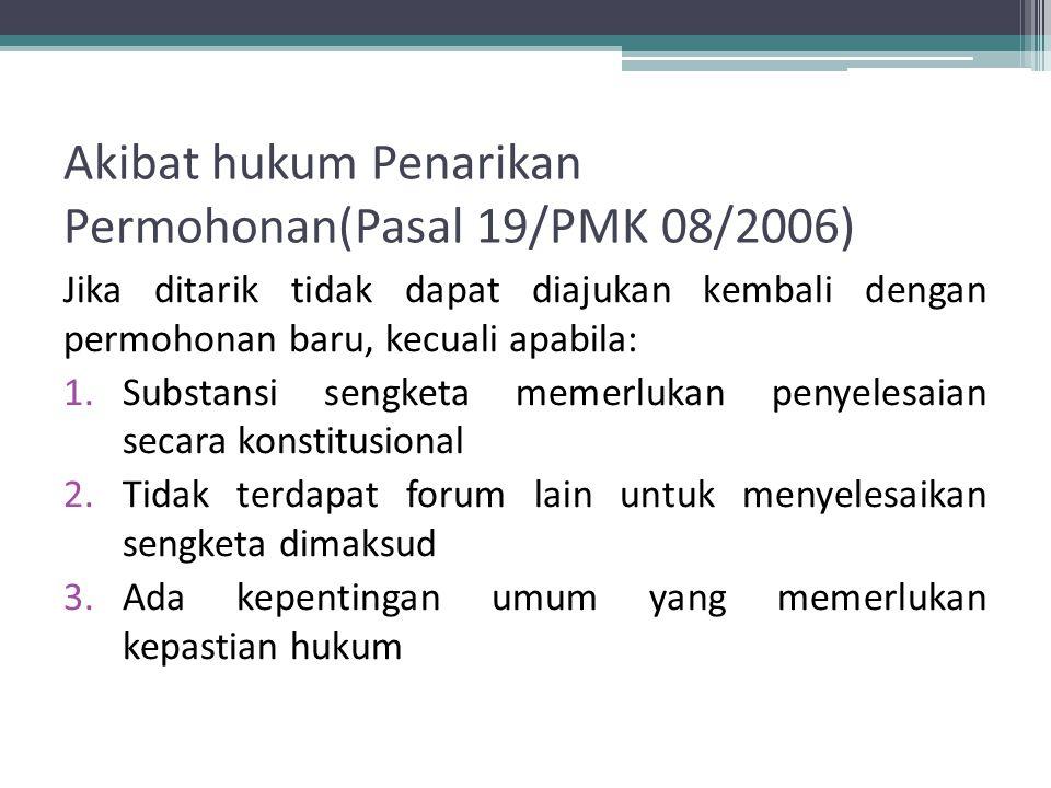 Akibat hukum Penarikan Permohonan(Pasal 19/PMK 08/2006)