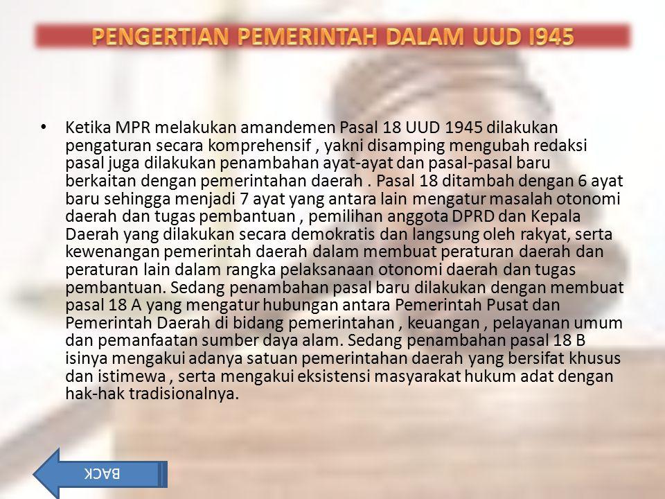 PENGERTIAN PEMERINTAH DALAM UUD I945