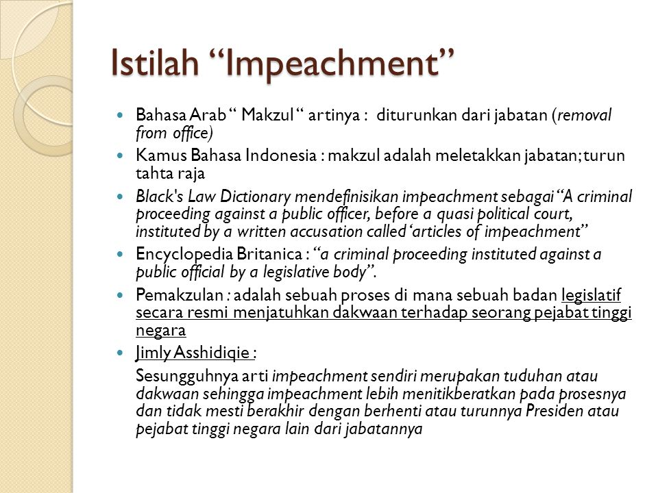 Istilah Impeachment