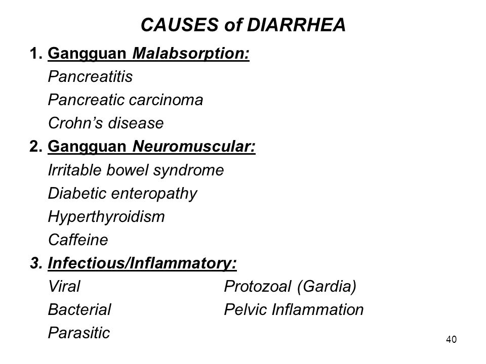 CAUSES of DIARRHEA 1. Gangguan Malabsorption: Pancreatitis