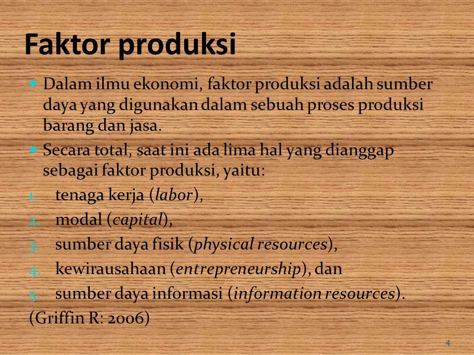 Faktor produksi Dalam ilmu ekonomi, faktor produksi adalah sumber daya yang digunakan dalam sebuah proses produksi barang dan jasa.