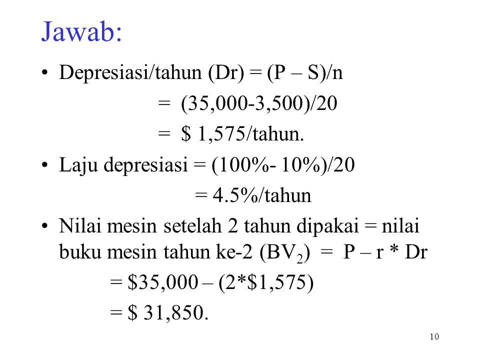 Jawab: Depresiasi/tahun (Dr) = (P – S)/n = (35,000-3,500)/20
