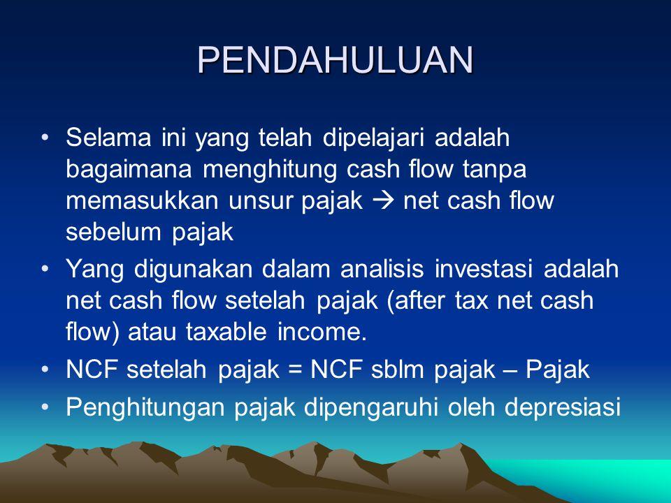 PENDAHULUAN Selama ini yang telah dipelajari adalah bagaimana menghitung cash flow tanpa memasukkan unsur pajak  net cash flow sebelum pajak.