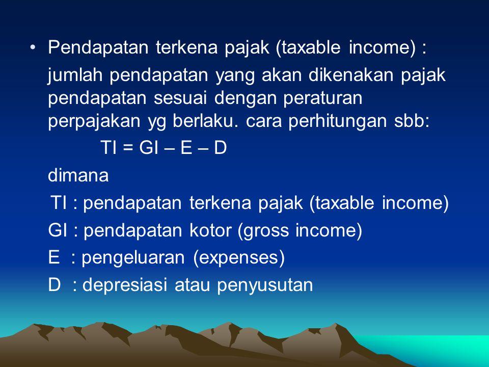 Pendapatan terkena pajak (taxable income) :