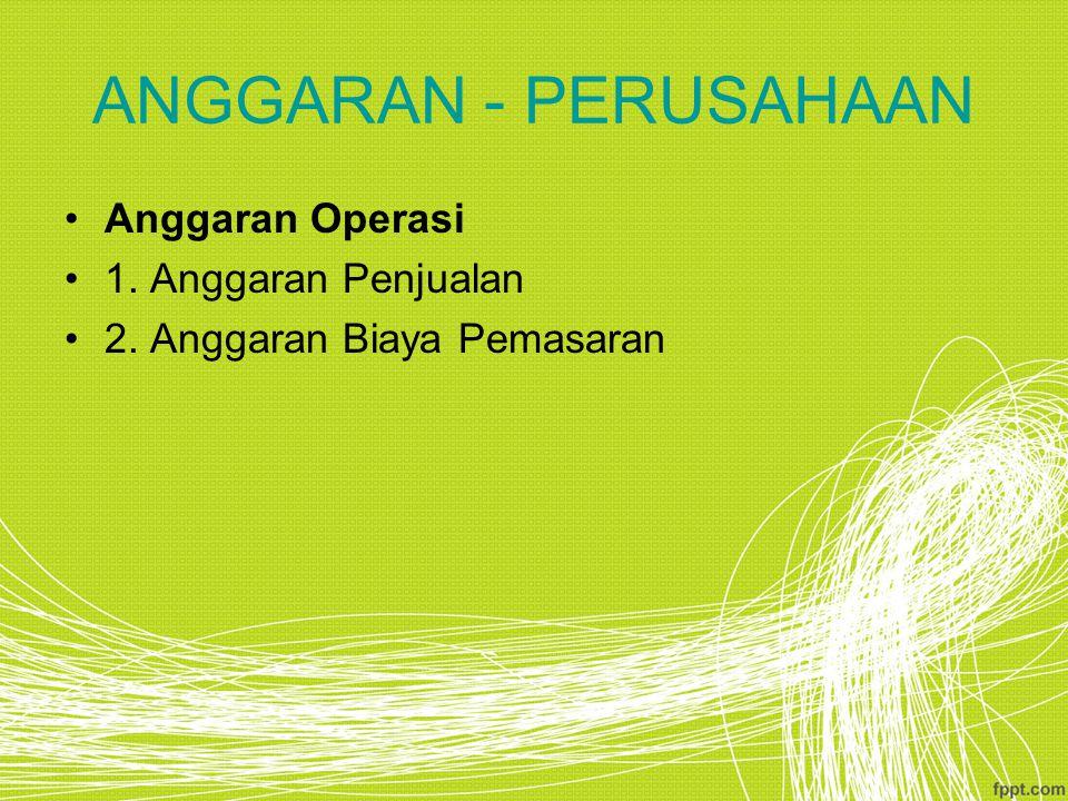 ANGGARAN - PERUSAHAAN Anggaran Operasi 1. Anggaran Penjualan
