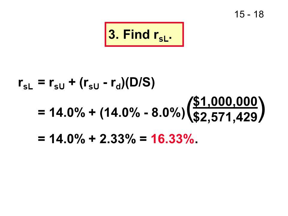3. Find rsL. rsL = rsU + (rsU - rd)(D/S) = 14.0% + (14.0% - 8.0%)( ) = 14.0% + 2.33% = 16.33%.