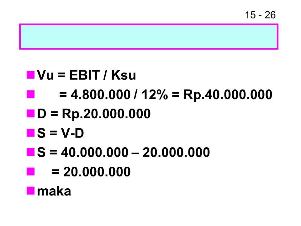 Vu = EBIT / Ksu = 4.800.000 / 12% = Rp.40.000.000. D = Rp.20.000.000. S = V-D. S = 40.000.000 – 20.000.000.