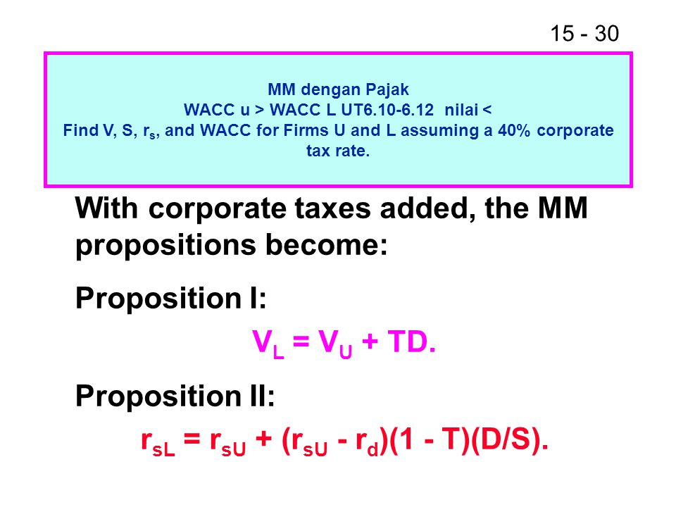 VL = VU + TD. rsL = rsU + (rsU - rd)(1 - T)(D/S).