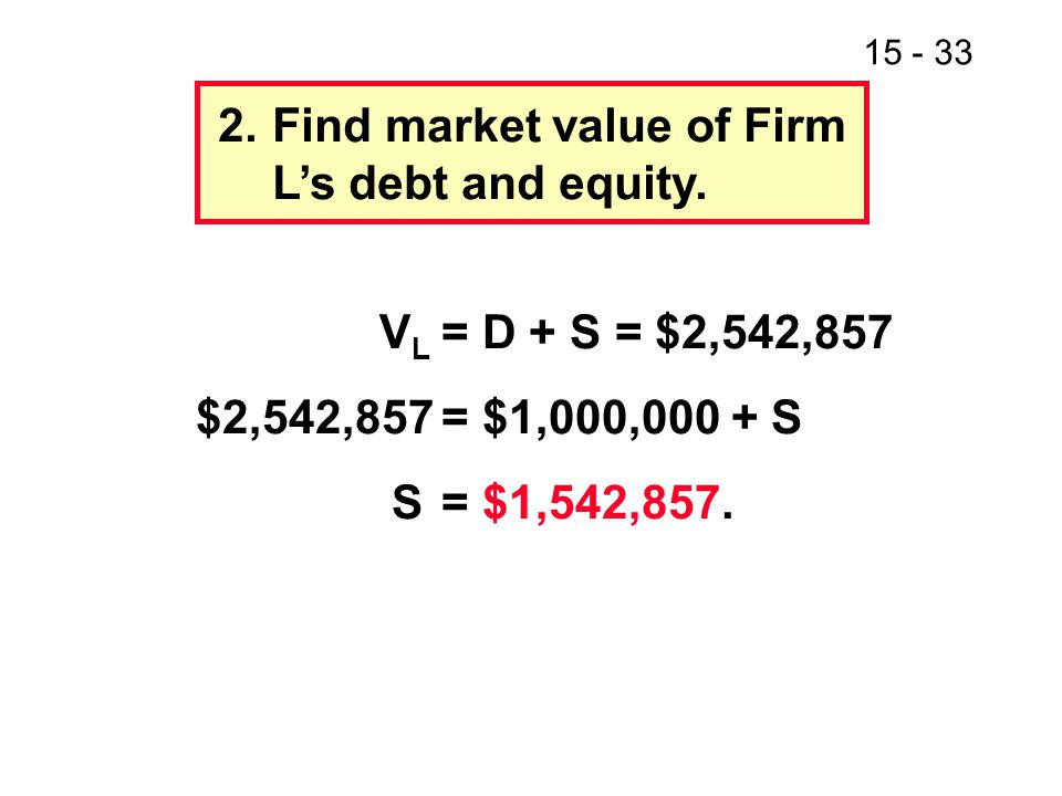 2. Find market value of Firm L's debt and equity.