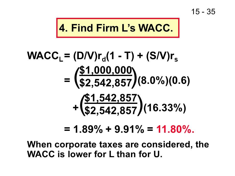 WACCL = (D/V)rd(1 - T) + (S/V)rs = ( )(8.0%)(0.6) +( )(16.33%)