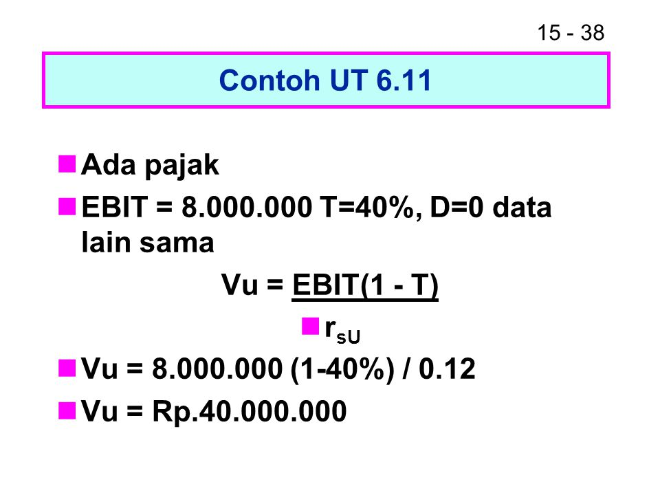 Contoh UT 6.11 Ada pajak. EBIT = 8.000.000 T=40%, D=0 data lain sama. Vu = EBIT(1 - T) rsU. Vu = 8.000.000 (1-40%) / 0.12.
