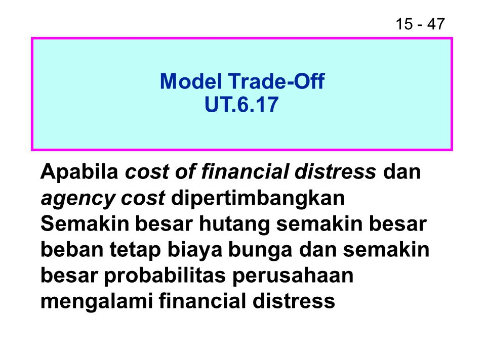 Model Trade-Off UT.6.17. Apabila cost of financial distress dan agency cost dipertimbangkan.