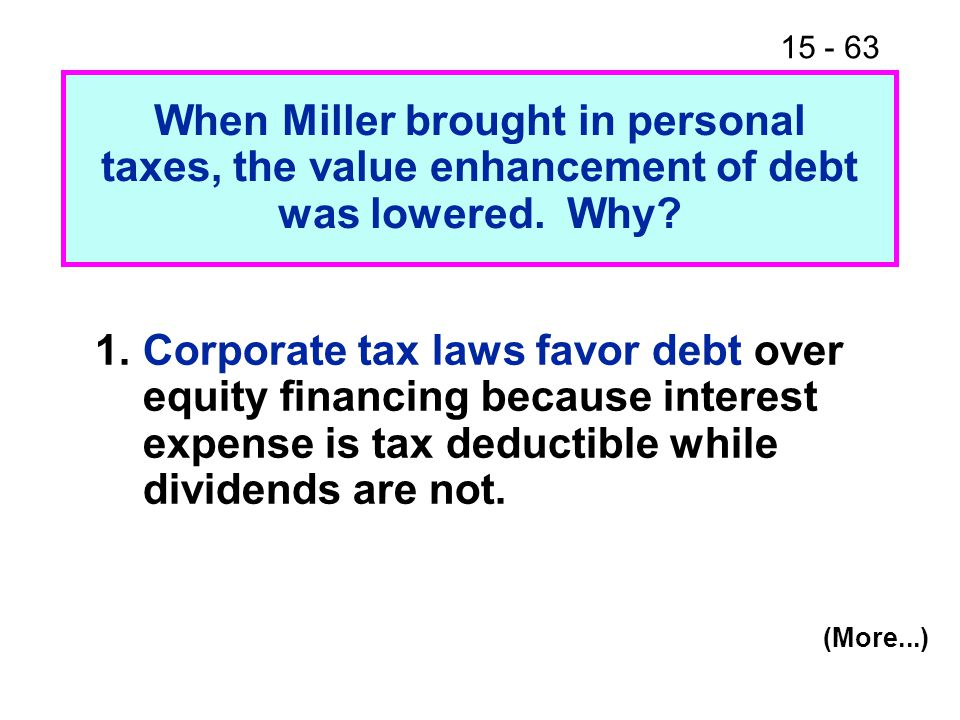 When Miller brought in personal taxes, the value enhancement of debt was lowered. Why